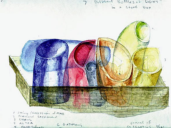 Steven Holl - Sketch for the concept of St. Ignatius Chapel in Seattle