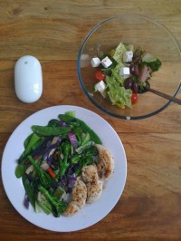 basil chicken breasts in olive oil with garlic, stir fry vegetables also in olive oil, greek salad and apple's mighty mouse