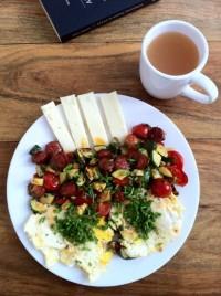 eggs with Spanish chorizo and ossau-iraty cheese.