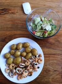 grilled fresh calamari and king prawns with my special herbs basil garlic mix