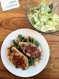 grilled pork chops with purple sprouting broccoli & cannelloni beans